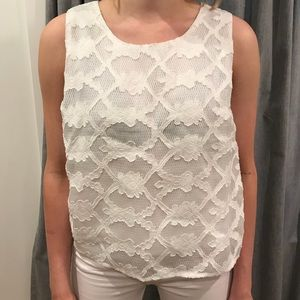 White floral and lace blouse